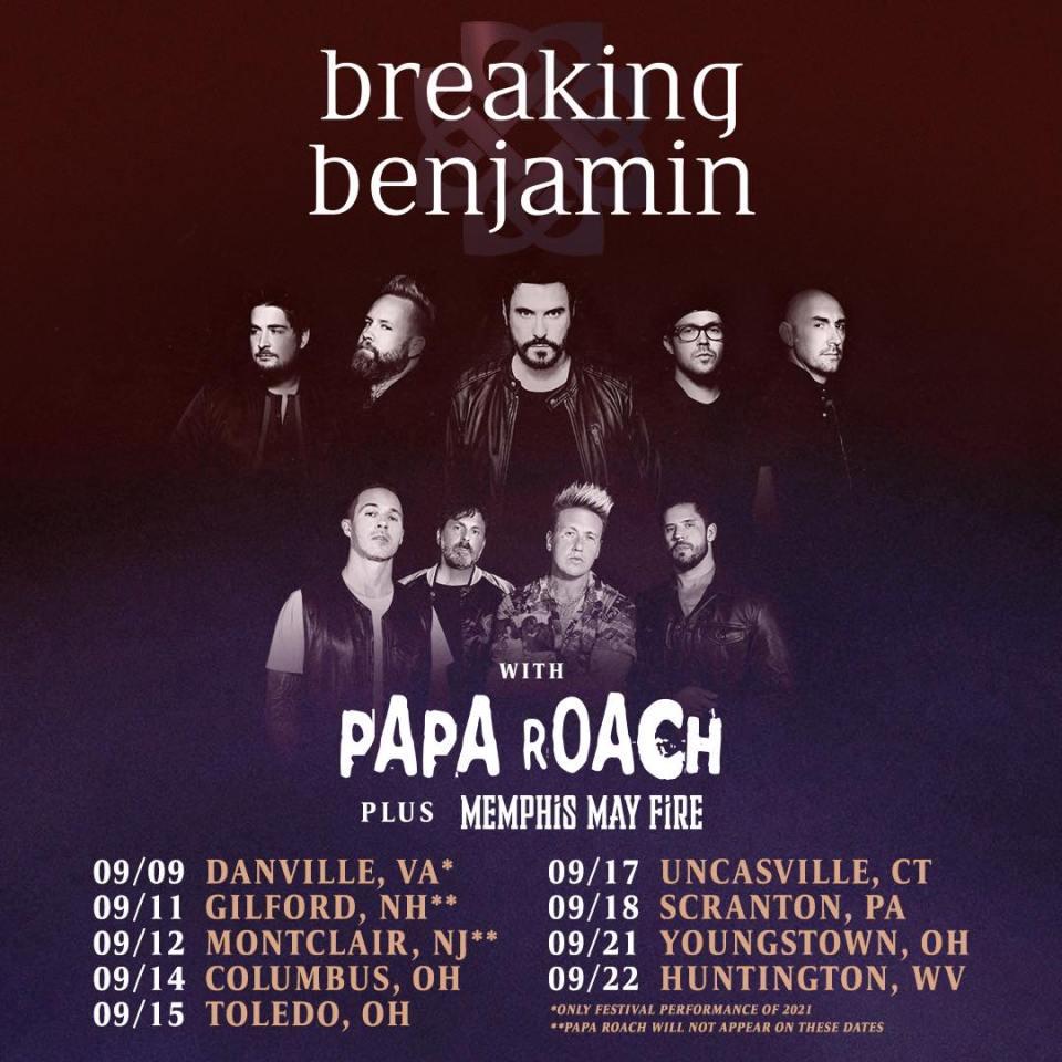 Breaking Benjamin Papa Roach and Memphis May Fire Tour 2021